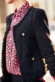 tweed blazer with hot pink