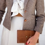 tweed blazer with winter white