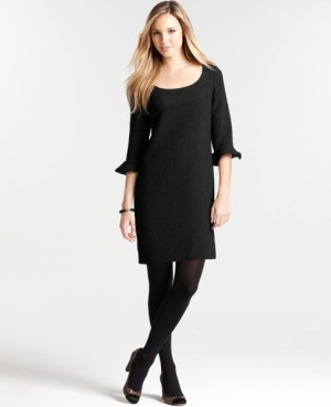 Ann Taylor Crinkle Crepe 3-4 Ruffle Sleeve Dress - $99