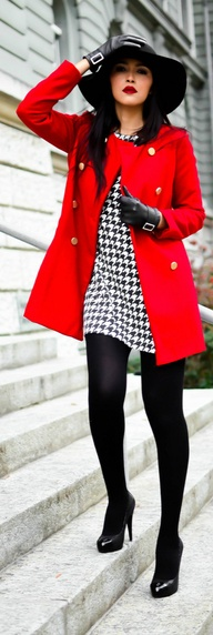 Checks - Houndstooth Red Coat