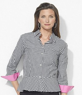 Checks - Lauren Ralph Lauren - Ruggle-Bottom Gingham Blouse - $89.50 - Dillards