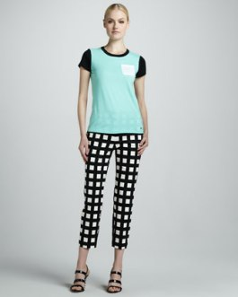 Kate Spade New York - Colorblock Pocket Tee & Davis Check Capris - $248 - Neiman Marcus
