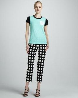 Kate Spade New York - Colorblock Pocket Tee & Davis Check Capris - $248 - Neiman Marcus
