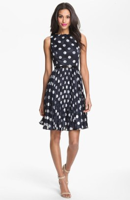 Adrianna  Papell Burnout Polka Dot Fit & Flare Dress - Nordstrom - $178