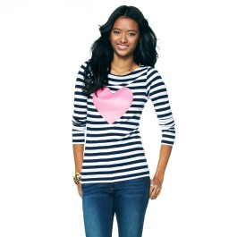 C Wonder Heart Printed Striped Boatneck Top - $58