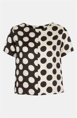 Polka Dot - Topshop 'Half & Half' Polka Dot Tee - Nordstrom - $64
