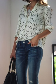 Polka Dots Silk Shirt with Denim