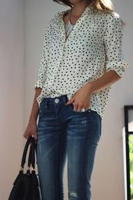 Polka Dots Silk Shirt with Denim