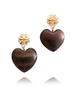 Tory Burch Wooden Heart Dangle Earrings - $78