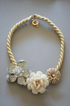 Anthropologie - Pearl and Flower Necklace