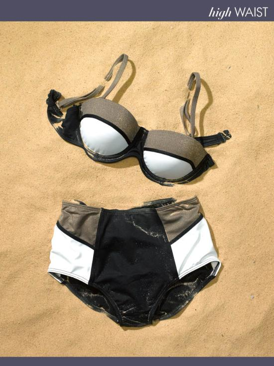 Baku Balconette Color-Blocked Bikini and High-Waisted Bottoms