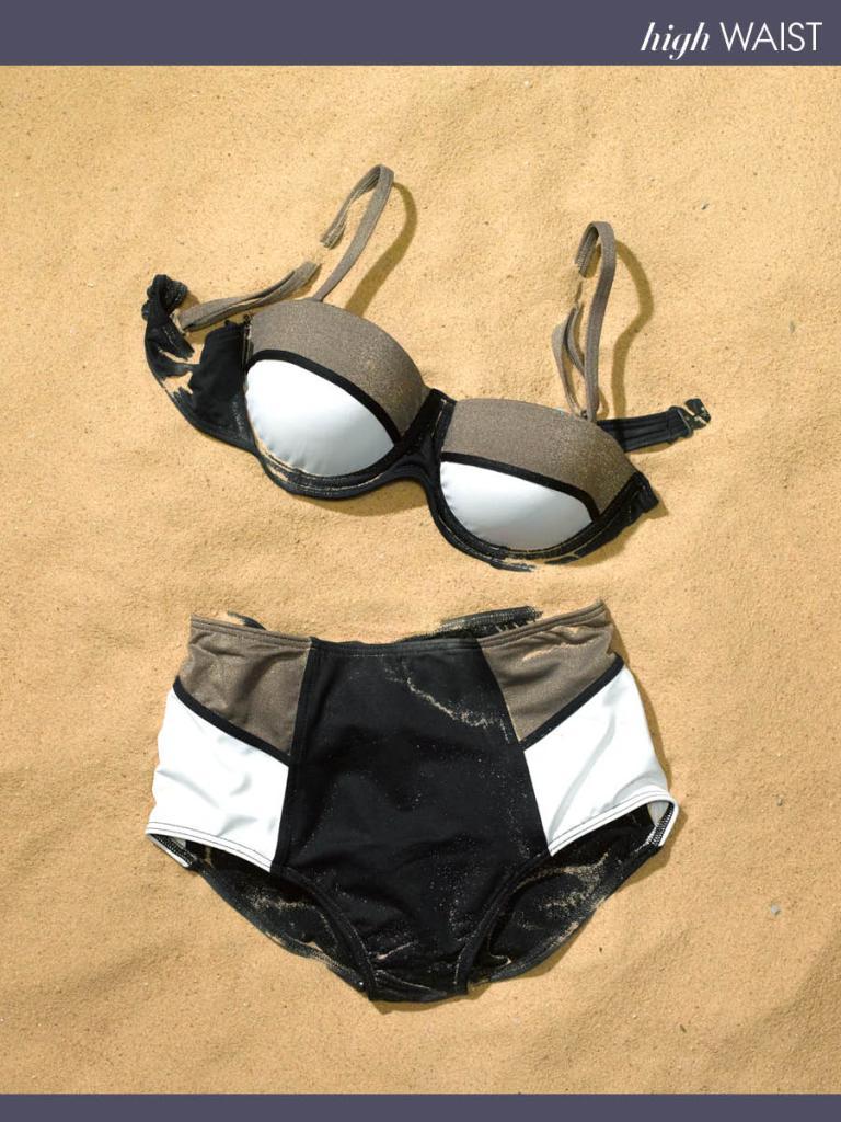 Baku Balconette Color-Blocked Bikini and High-Waisted Bottoms