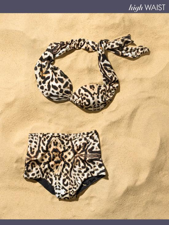 Clube Bossa Feline-Print Twist Bandeau and High-Waisted Bottoms - $362