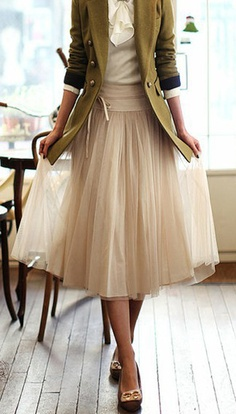 Tulle and Military Jacket