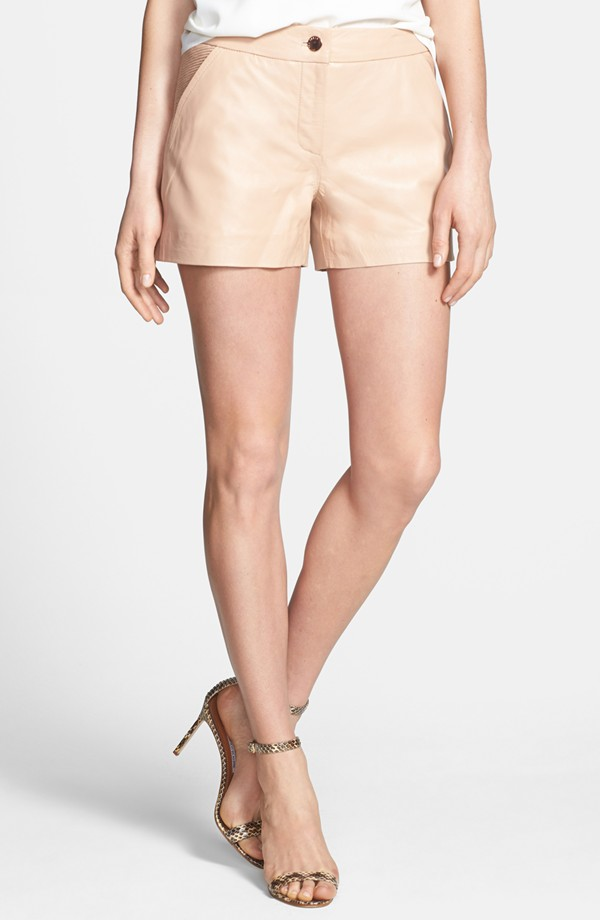 Ted Baker London 'Topstitched Leather Shorts' - $325